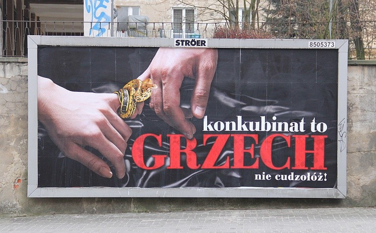 "Billboard ""Konkubinat to grzech"""